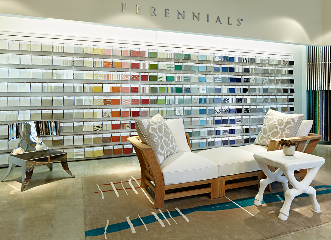 Perennials performance fabrics and rugs designer showroom.