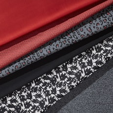 Perennials fabrics in red, grey and black